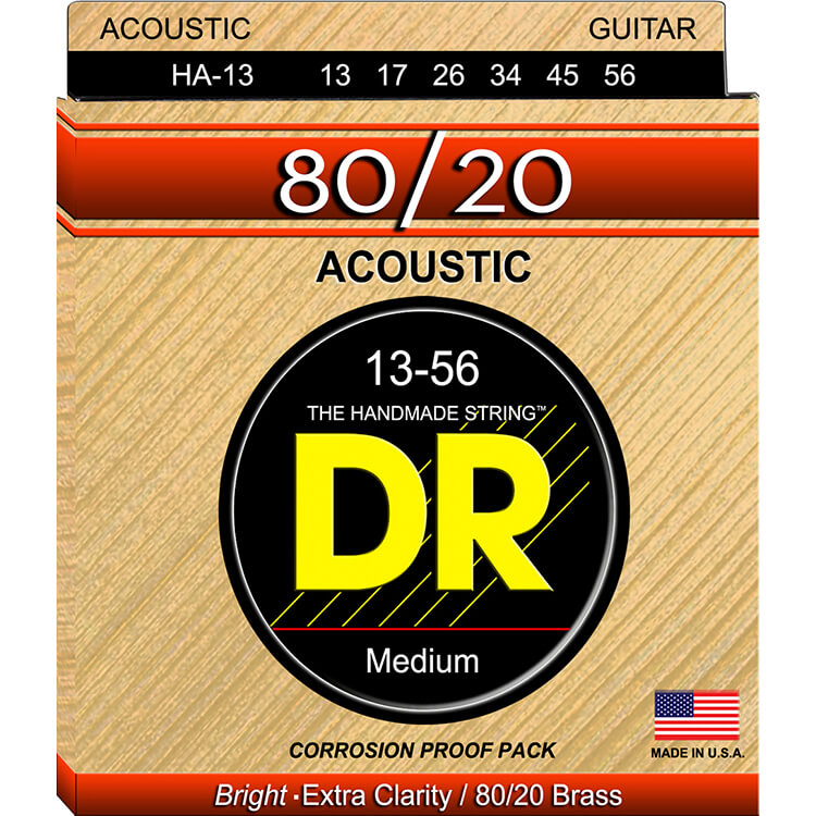 DR Hi-Beam 80/20 Bronze Acoustic Guitar String Set - 13-56 Medium HA-13