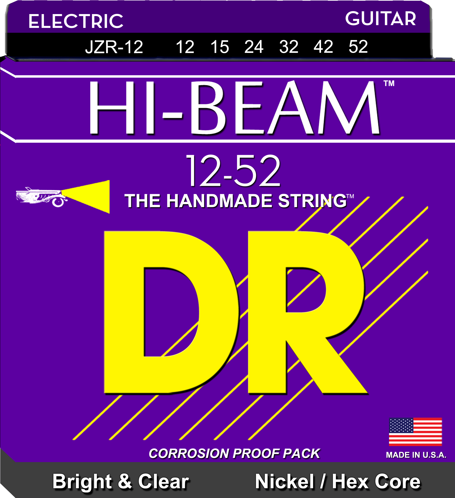 DR Hi-Beam Electric Guitar String Set - 12-52 Extra-Heavy Wound 3rd JZR-12