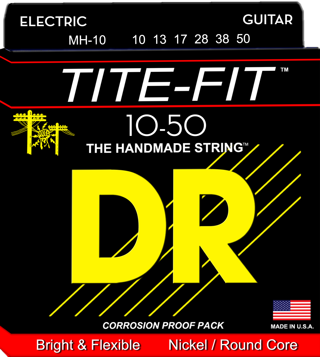DR Tite-Fit Electric Guitar String Set - 10-50 Medium-Heavy MH-10