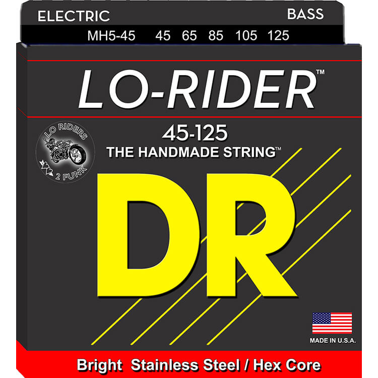 DR Lo-Rider Stainless Steel Electric Bass Strings Long Scale Set - 5-String 45-125 Medium MH5-45