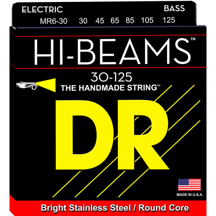 DR Hi-Beam Stainless Steel Electric Bass Strings Long Scale Set - 6-String 30-125 Medium MR6-30