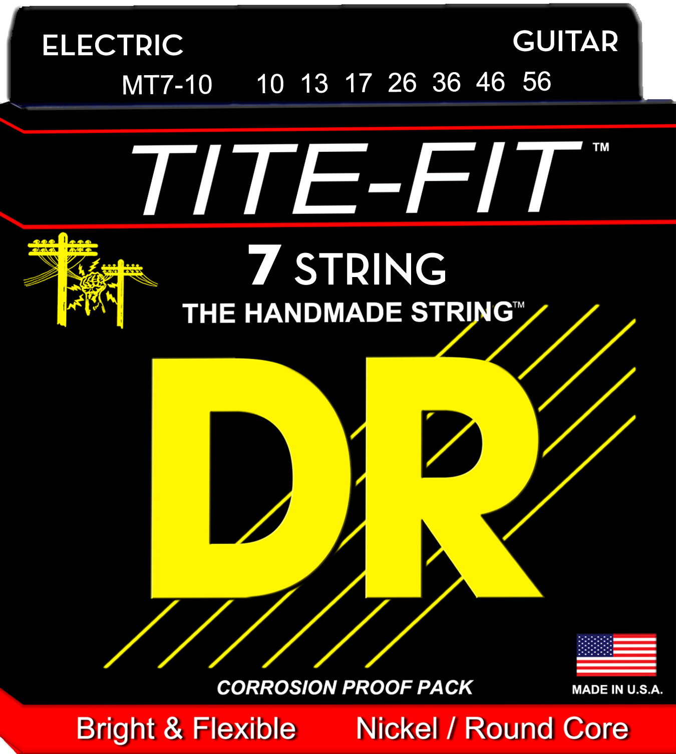 DR Tite-Fit Electric Guitar String Set - 10-56 7-String Medium MT7-10