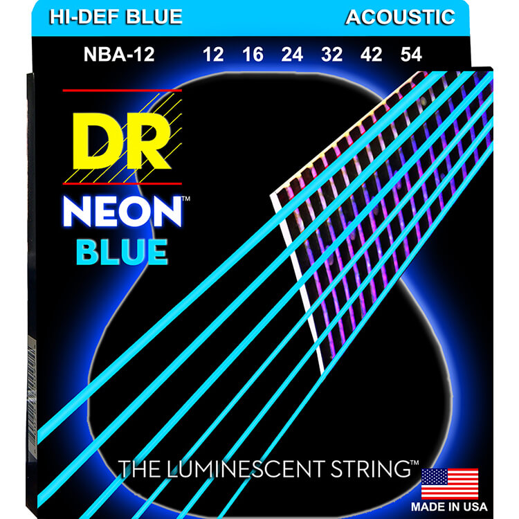 DR NEON Blue Coated Phosphor Bronze Acoustic Guitar String Set - 12-54 Light NBA-12