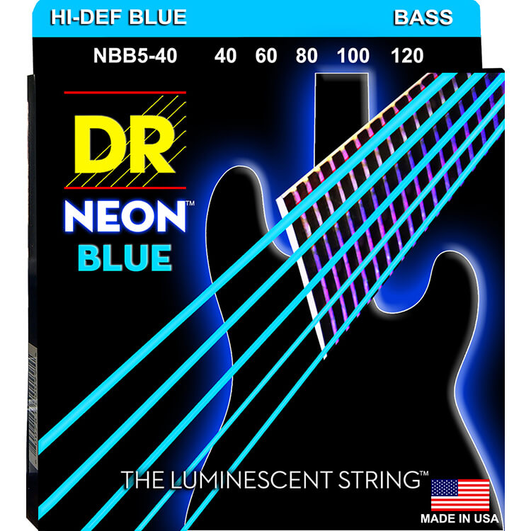 DR NEON Blue Coated Electric Bass Strings Long Scale Set - 5-String 40-120 NBB5-40