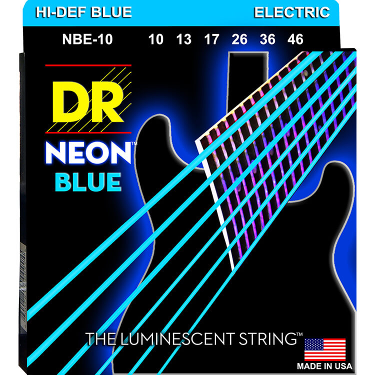 DR Neon Blue K3 Coated Electric Guitar String Set - 10-46 Medium NBE-10