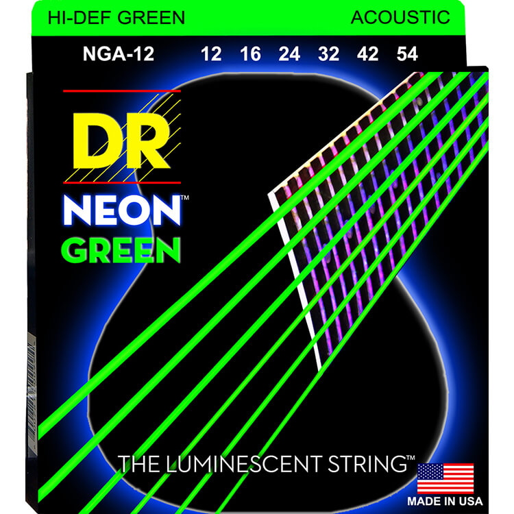 DR NEON Green Coated Phosphor Bronze Acoustic Guitar String Set - 12-54 Light NGA-12