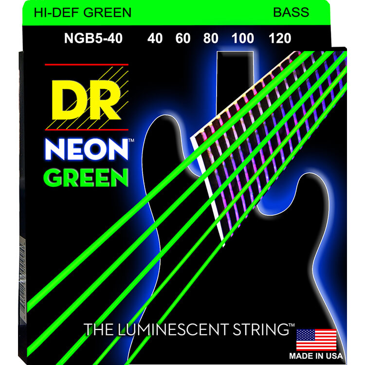 DR NEON Green Coated Electric Bass Strings Long Scale Set - 5-String 40-120 NGB5-40