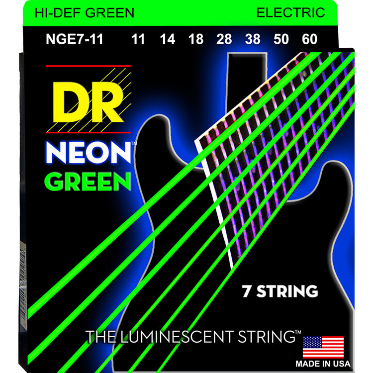 DR Neon Green K3 Coated Electric Guitar String Set - 11-60 7-String Heavy NGE7-11