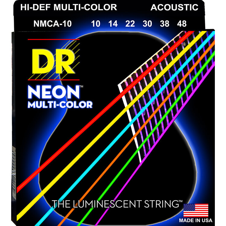 DR NEON Multi-Color Coated Phosphor Bronze Acoustic Guitar String Set - 10-48 Extra Light NMCA-10
