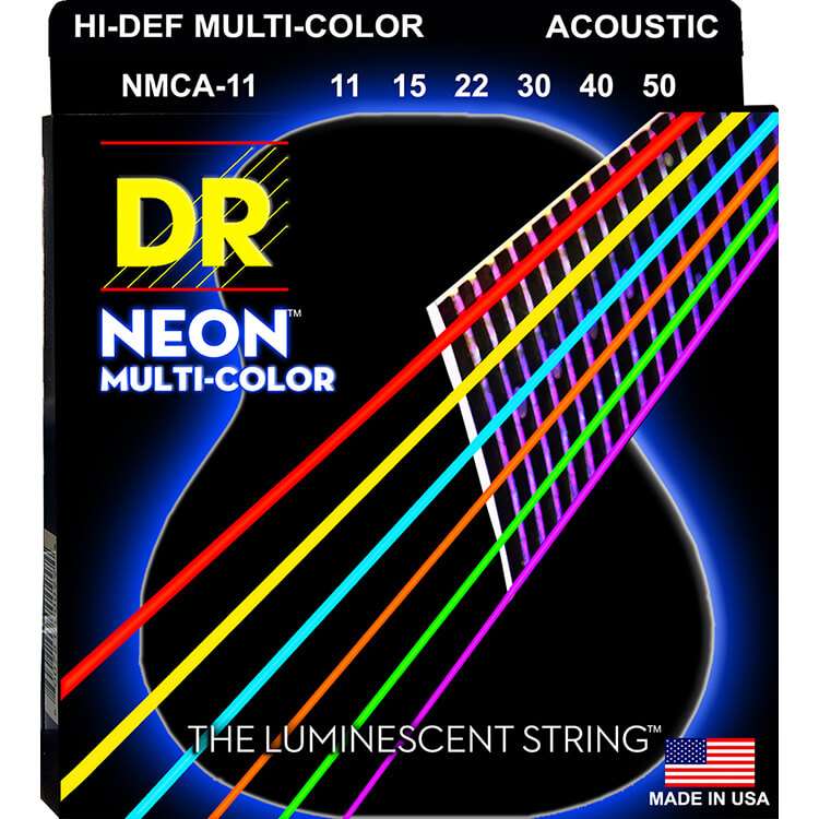 DR NEON Multi-Color Coated Phosphor Bronze Acoustic Guitar String Set - 11-50 Custom Light NMCA-11