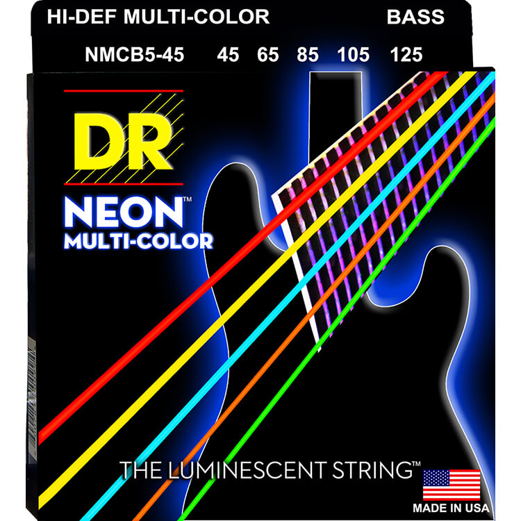 DR NEON Multi-Color Coated Electric Bass Strings Long Scale Set - 5-String 45-125 NMCB5-45 Rocksmith Colors