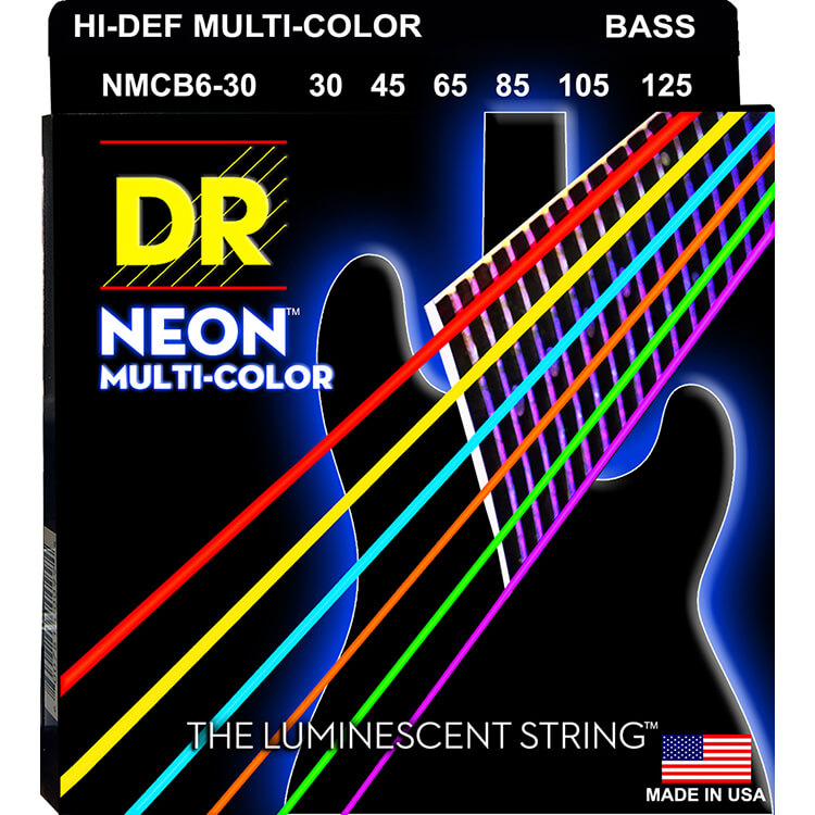 DR NEON Multi-Color Coated Electric Bass Strings Long Scale Set - 6-String 30-125 NMCB6-30 Rocksmith Colors
