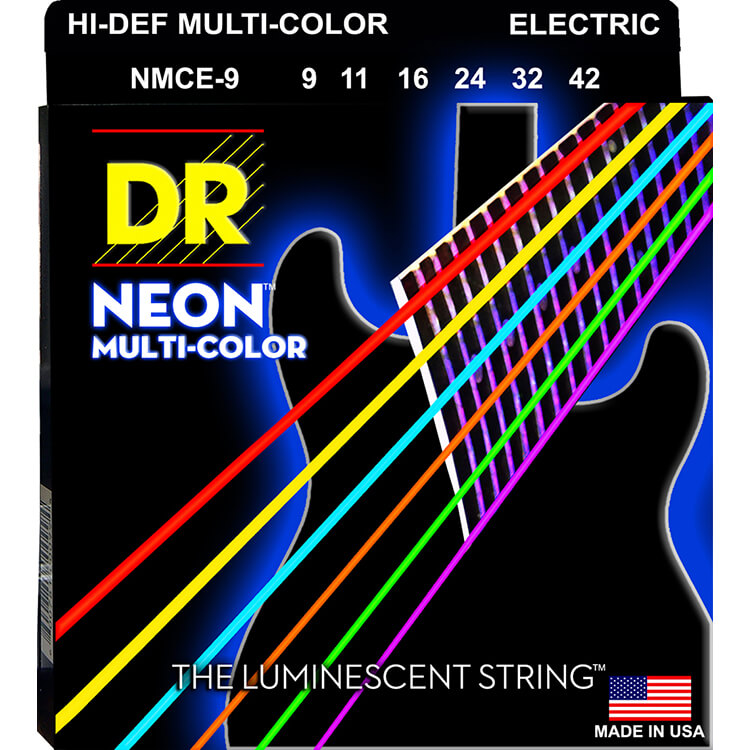 DR Neon Multi-Color Rocksmith Game Colors K3 Coated Electric Guitar String Set - 09-42 Light NMCE-9