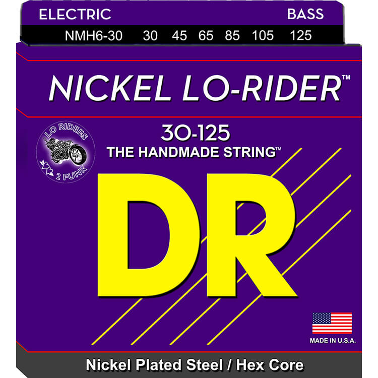 DR Nickel Lo-Rider Nickel Plated Steel Electric Bass Strings Long Scale Set - 6-String 30-125 Medium NMH6-30
