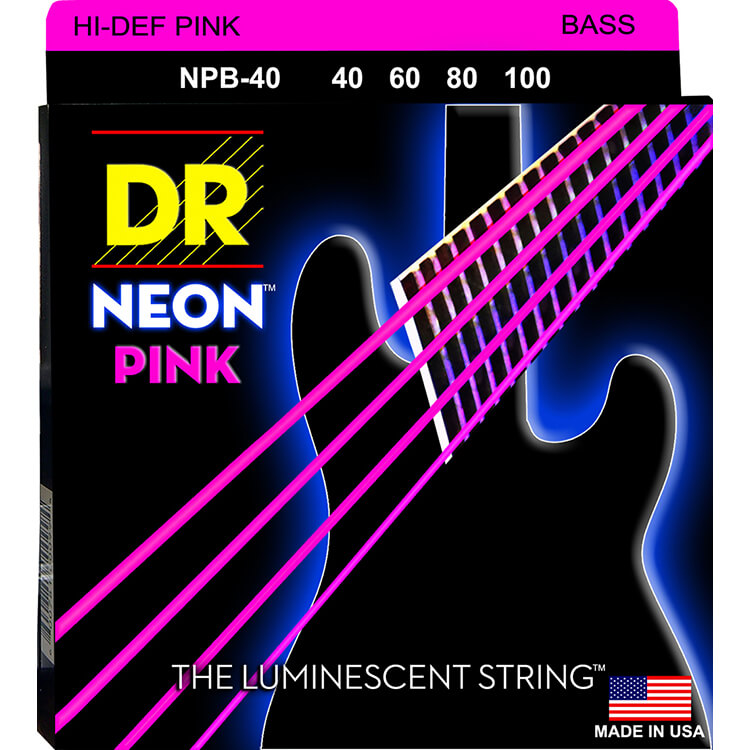DR NEON Pink Coated Electric Bass Strings Long Scale Set - 4-String 40-100 NPB-40