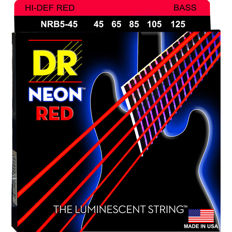 DR NEON Red Coated Electric Bass Strings Long Scale Set - 5-String 45-125 NRB5-45