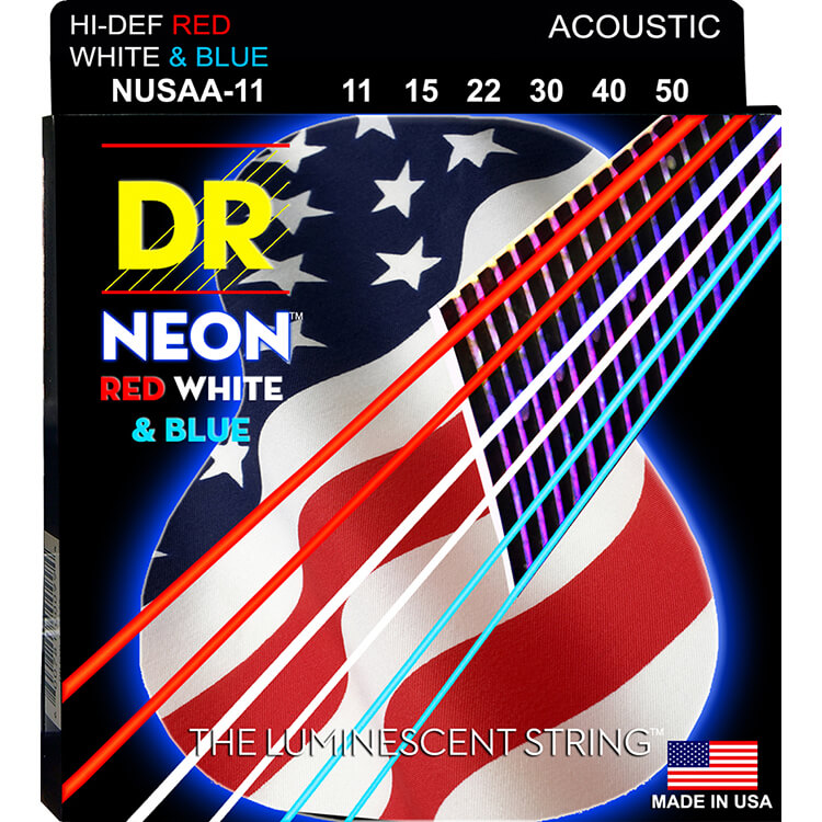 DR NEON Red White and Blue Coated Phosphor Bronze Acoustic Guitar String Set - 11-50 Custom Light NUSAA-11