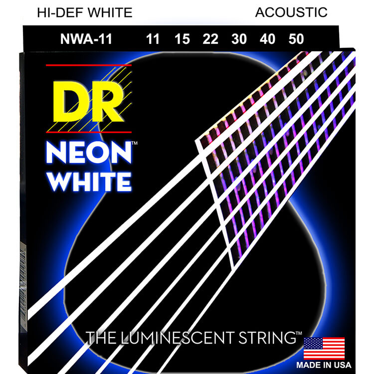 DR NEON White Coated Phosphor Bronze Acoustic Guitar String Set - 11-50 Custom Light NWA-11