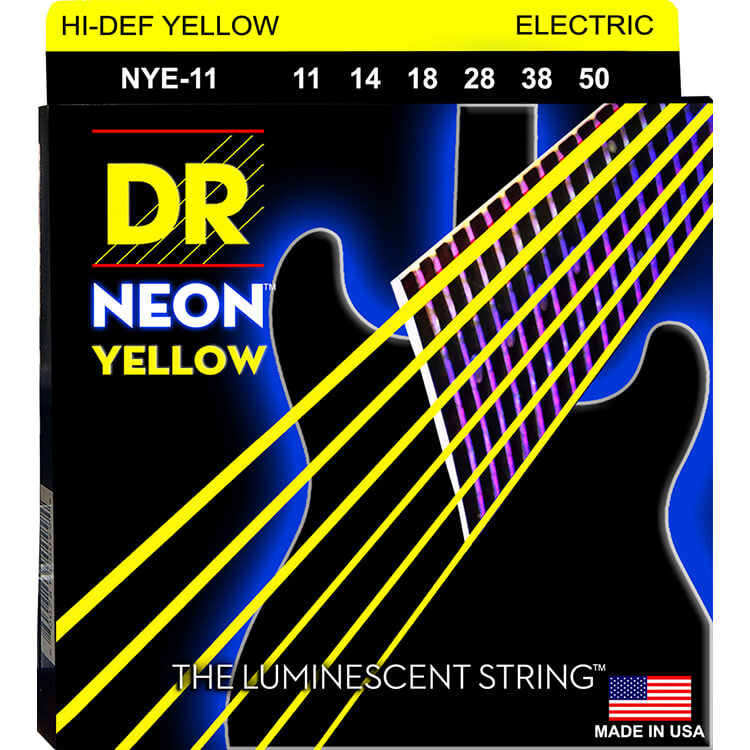 DR Neon Yellow K3 Coated Electric Guitar String Set - 11-50 Heavy NYE-11