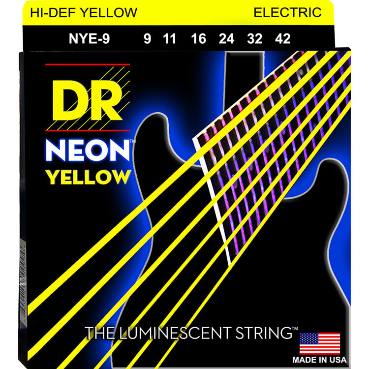 DR Neon Yellow K3 Coated Electric Guitar String Set - 09-42 Light NYE-9