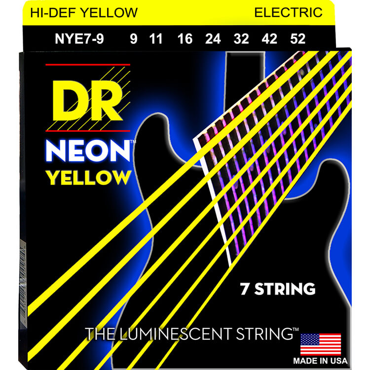 DR Neon Yellow K3 Coated Electric Guitar String Set - 09-52 7-String Light NYE7-9