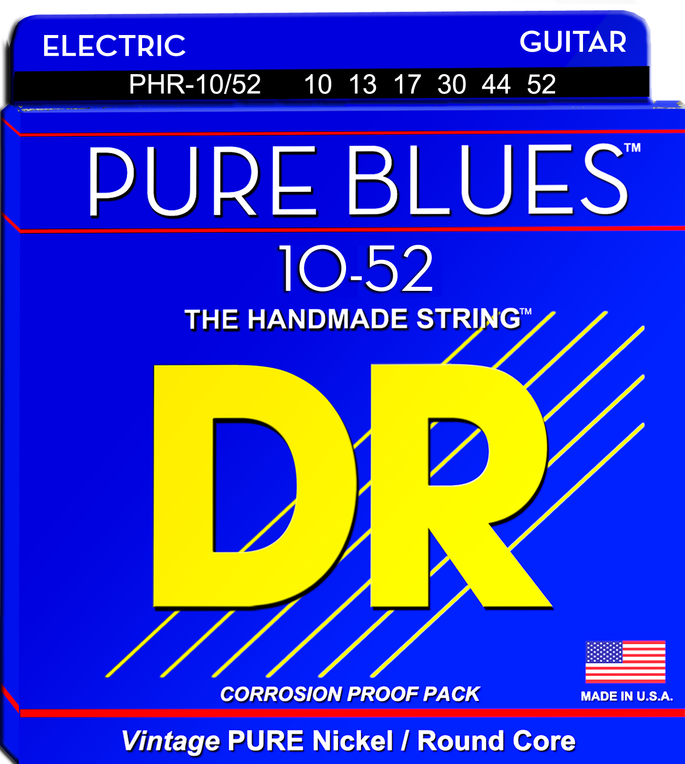 DR Pure Blues Pure Nickel Electric Guitar String Set - 10-52 Big-N-Heavy PHR-10/52