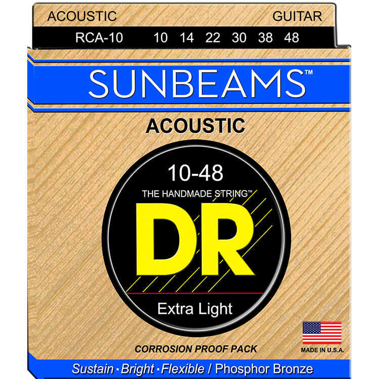 DR Sunbeams Round Core Phosphor Bronze Acoustic Guitar String Set - 10-48 Extra Light RCA-10