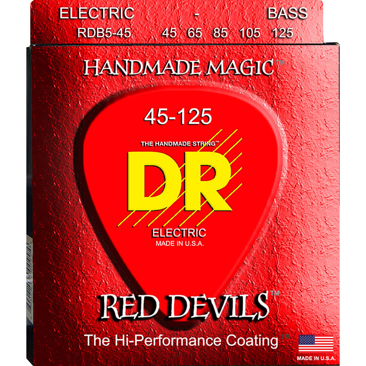 DR Red Devils Red Coated Electric Bass Strings Long Scale Set - 5-String 45-125 RDB5-45