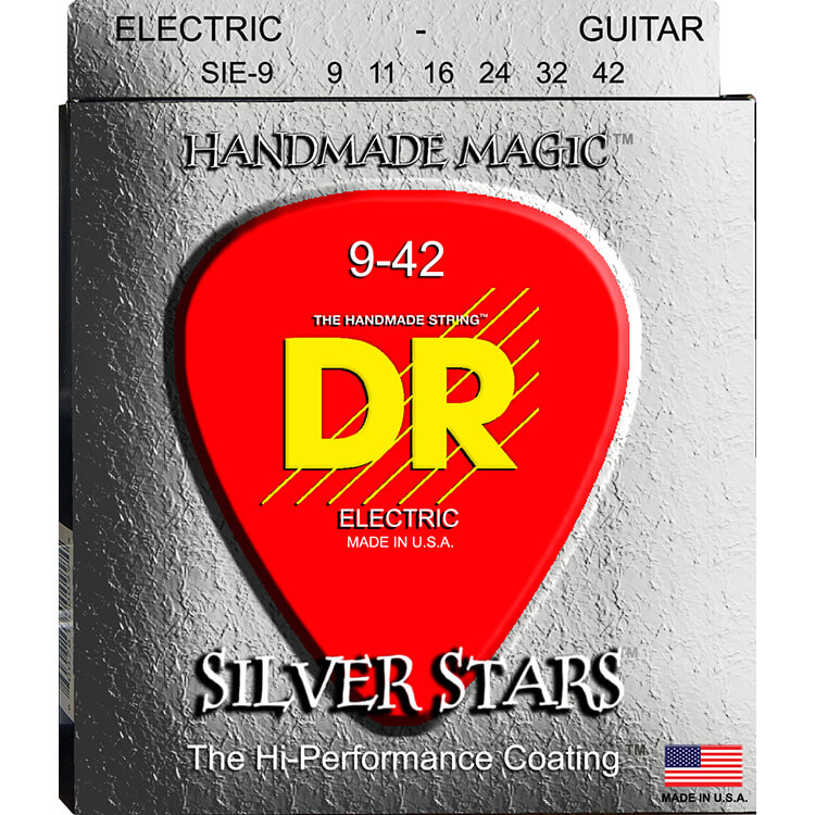 DR Silver Stars K3 Silver Coated Electric Guitar String Set - 09-42 Light SIE-9