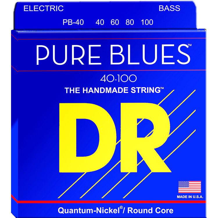 DR Pure Blues Quantum-Nickel Electric Bass Strings Long Scale Set - 4-String 40-100 Light PB-40