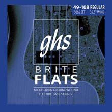 GHS Brite Flats Half Round Bass Strings Medium Scale Set - 4-String 49-108 Medium 3065