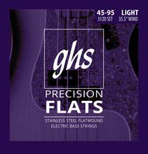 GHS Precision Flats Flatwound Bass Strings Medium Scale - 4-String 45-095 Light 3120