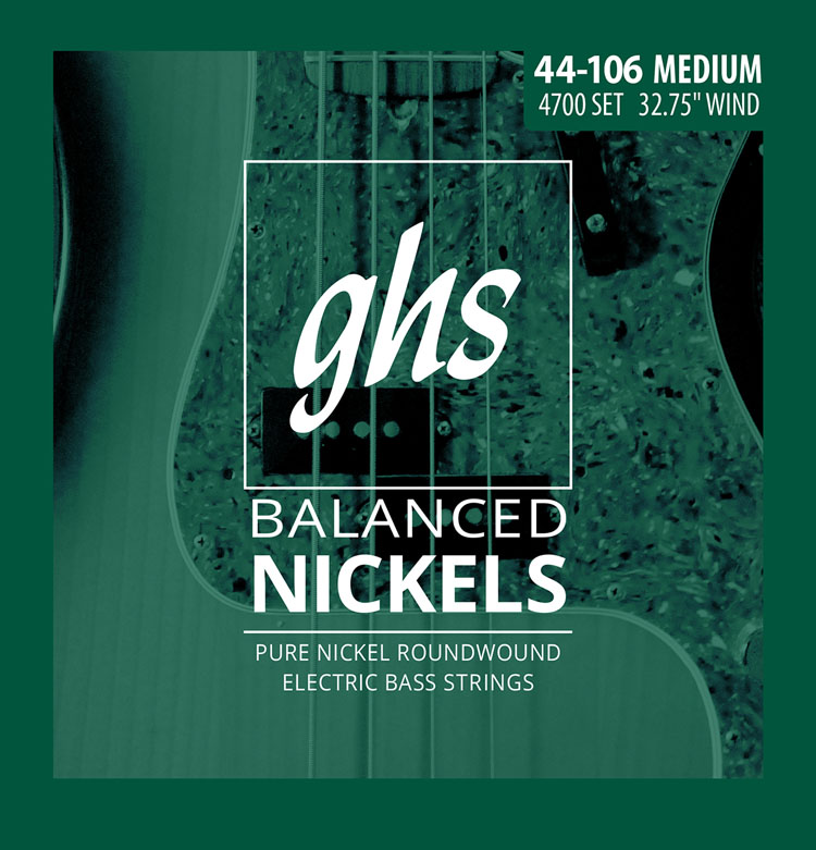 GHS Balanced Nickels Pure Nickel Round Wound Bass Strings Short Scale - 4-String 44-106 4700