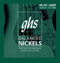 GHS Balanced Nickels Pure Nickel Round Wound Bass Strings Long Scale - 4-String 40-101 4L-NB