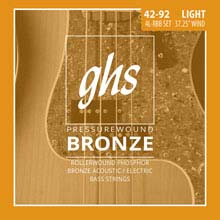 GHS Pressurewound Bronze Light Acoustic/Electric Bass Strings - 4-String 42-092 4L-RBB