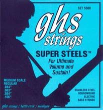 GHS Super Steels Stainless Steel Electric Bass Strings Medium Scale - 4-String 44-106