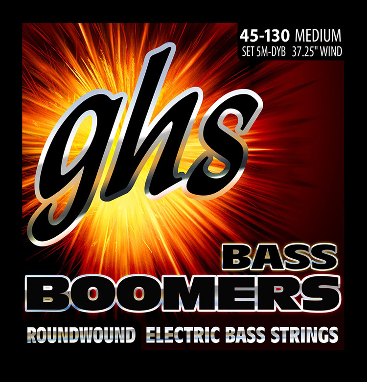 GHS Bass Boomers Nickel Wound Bass String Set Long Scale - 5-String 45-130 Medium 5M-DYB
