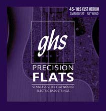 GHS Precision Flats Flatwound Bass Strings Long Scale Plus - 4-String 45-105 Custom Medium CM3050