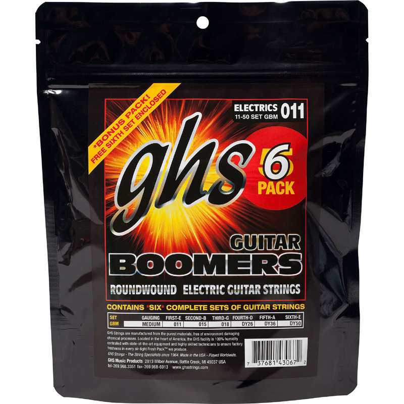 GHS Boomers Electric Guitar String Sets 11-50 Medium GBM-5 6-Pack