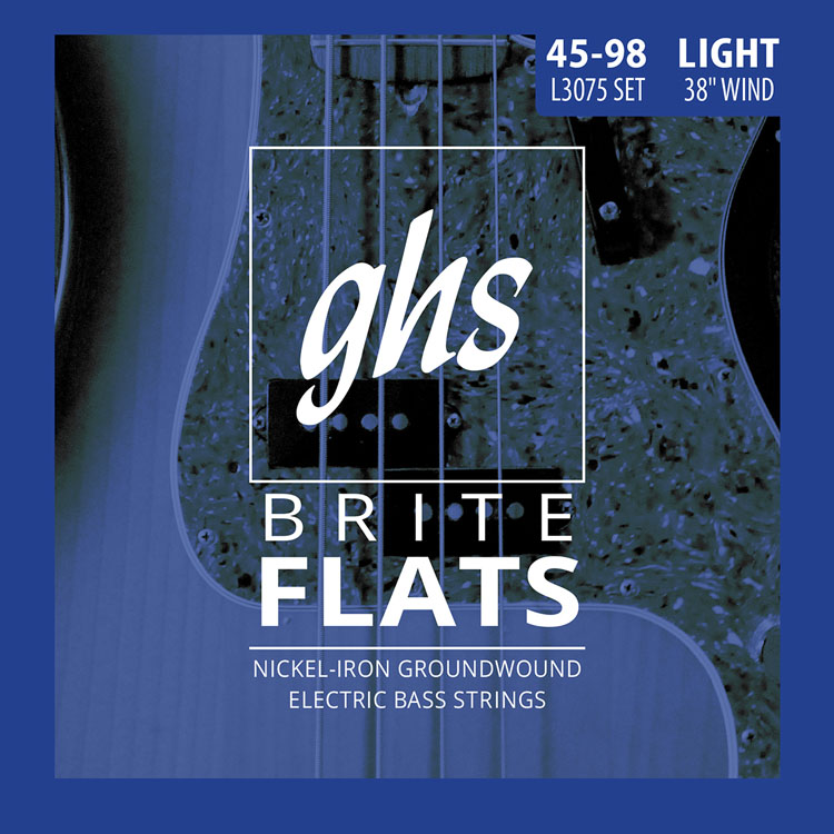 GHS Brite Flats Half Round Bass Strings Long Scale Plus Set - 4-String 45-098 Light L3075