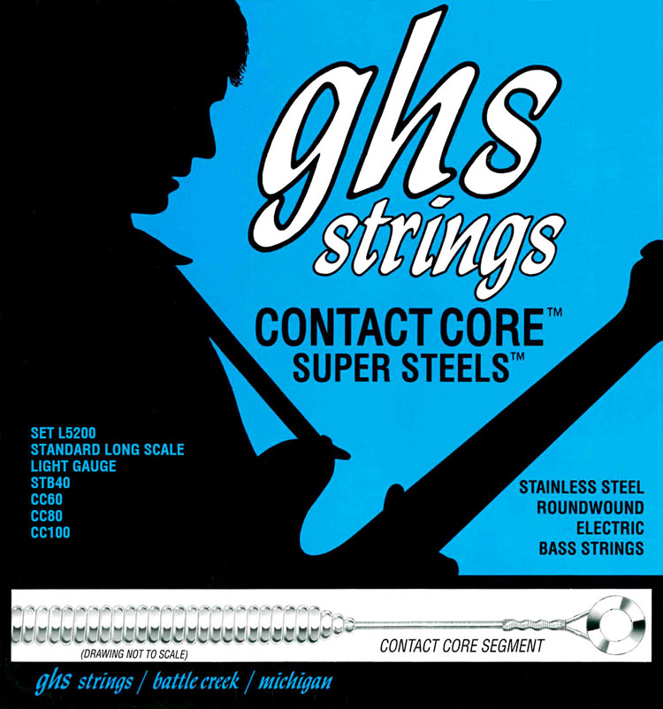 GHS Contact Core Super Steels Exposed Core Electric Bass Strings Long Scale - 4-String 40-100x L5200