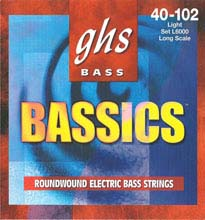 GHS Bassics Nickel Plated Steel Round Wound Electric Bass Strings Long Scale - 4-String 40-102 L6000