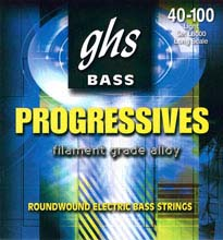 GHS Progressives Filament Grade Alloy Electric Bass Strings Long Scale - 4-String 40-100sh L8000