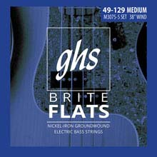 GHS Brite Flats Half Round Bass Strings Long Scale Plus Set - 5-String 49-128 Medium M3075-5