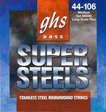 GHS Super Steels Stainless Steel Electric Bass Strings Long Scale - 4-String 44-106 M5000