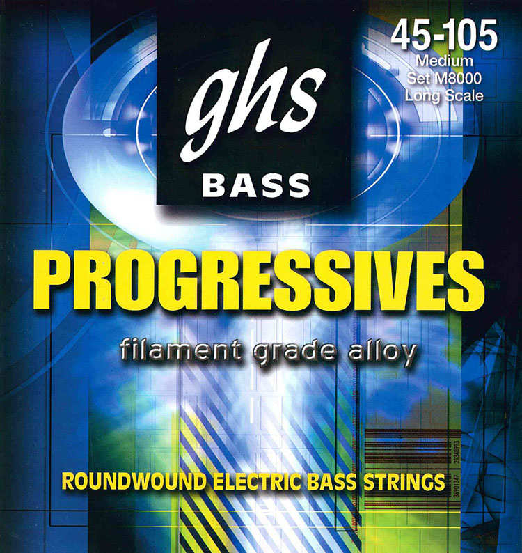 GHS Progressives Filament Grade Alloy Electric Bass Strings Long Scale - 4-String 45-105sh M8000