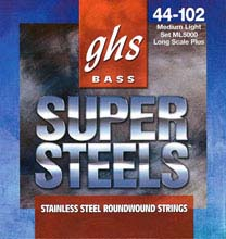 GHS Super Steels Stainless Steel Electric Bass Strings Long Scale - 4-String 44-102 ML5000