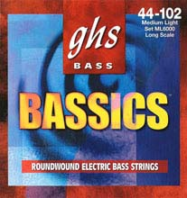 GHS Bassics Nickel Plated Steel Round Wound Electric Bass Strings Long Scale - 4-String 44-102 ML6000