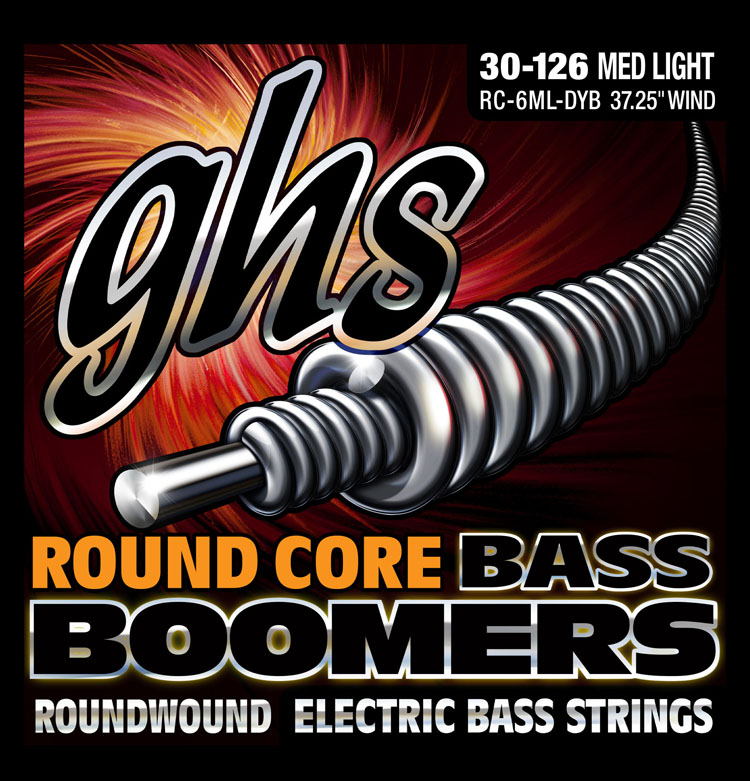 GHS Round Core Bass Boomers Nickel Wound Bass String Set Long Scale - 6-String 30-126 RC-6ML-DYB