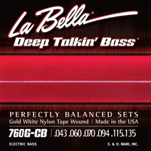 La Bella Deep Talkin' Goled White Nylon Bass Strings Long Scale Set - 6-String 43-135 760G-CB